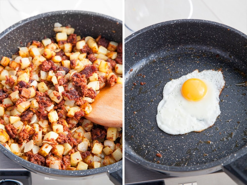 Preparing the chilli corned beef hash and frying an egg to top