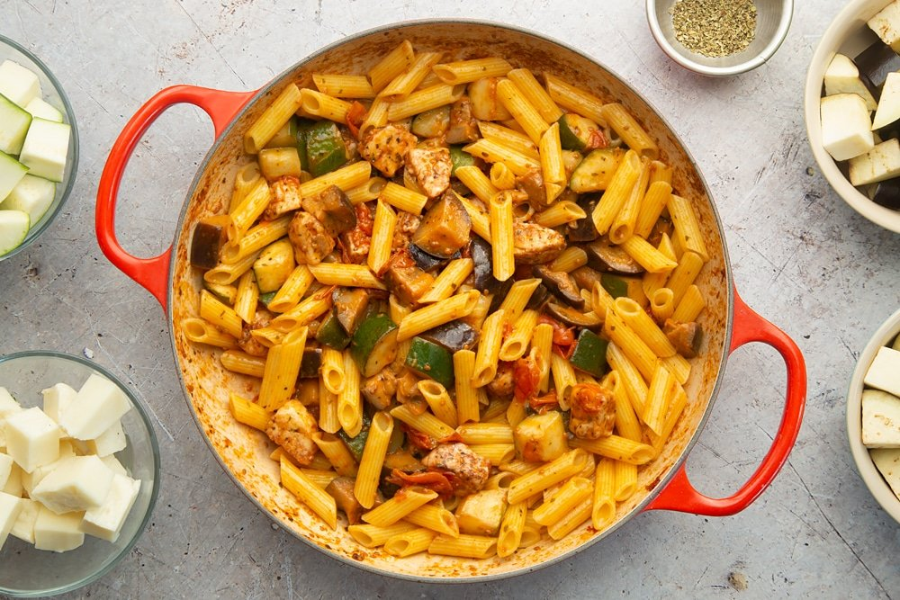 Stir in drained, cooked pasta to create this delicious halloumi pasta