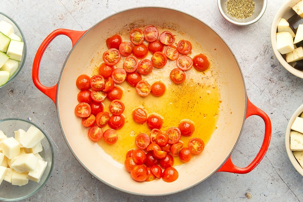 Fried, softened cherry tomatoes