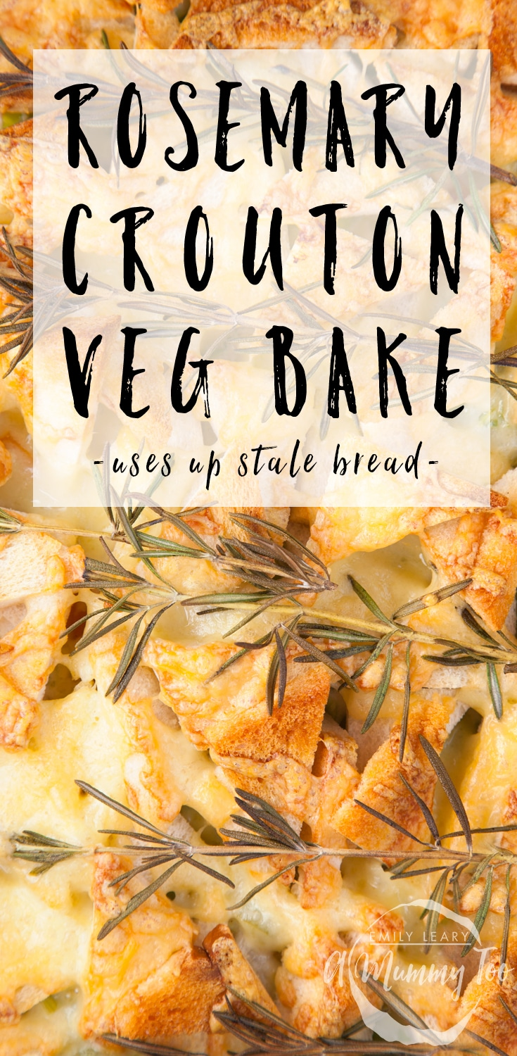 This cheesy vegetable bake is a great way to use up stale bread, and it's totally delicious. Find the recipe at amummytoo.co.uk #recipe #reducewaste #vegetarian