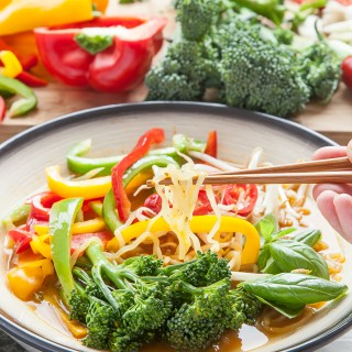 Ultra low calorie, veg packed Thai noodle soup