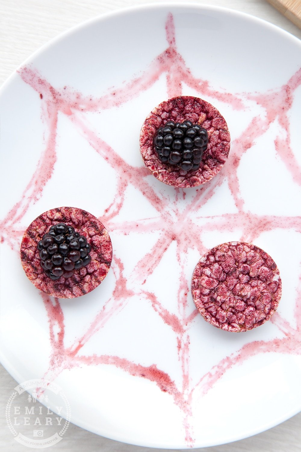 Top your rice cakes with blackberries