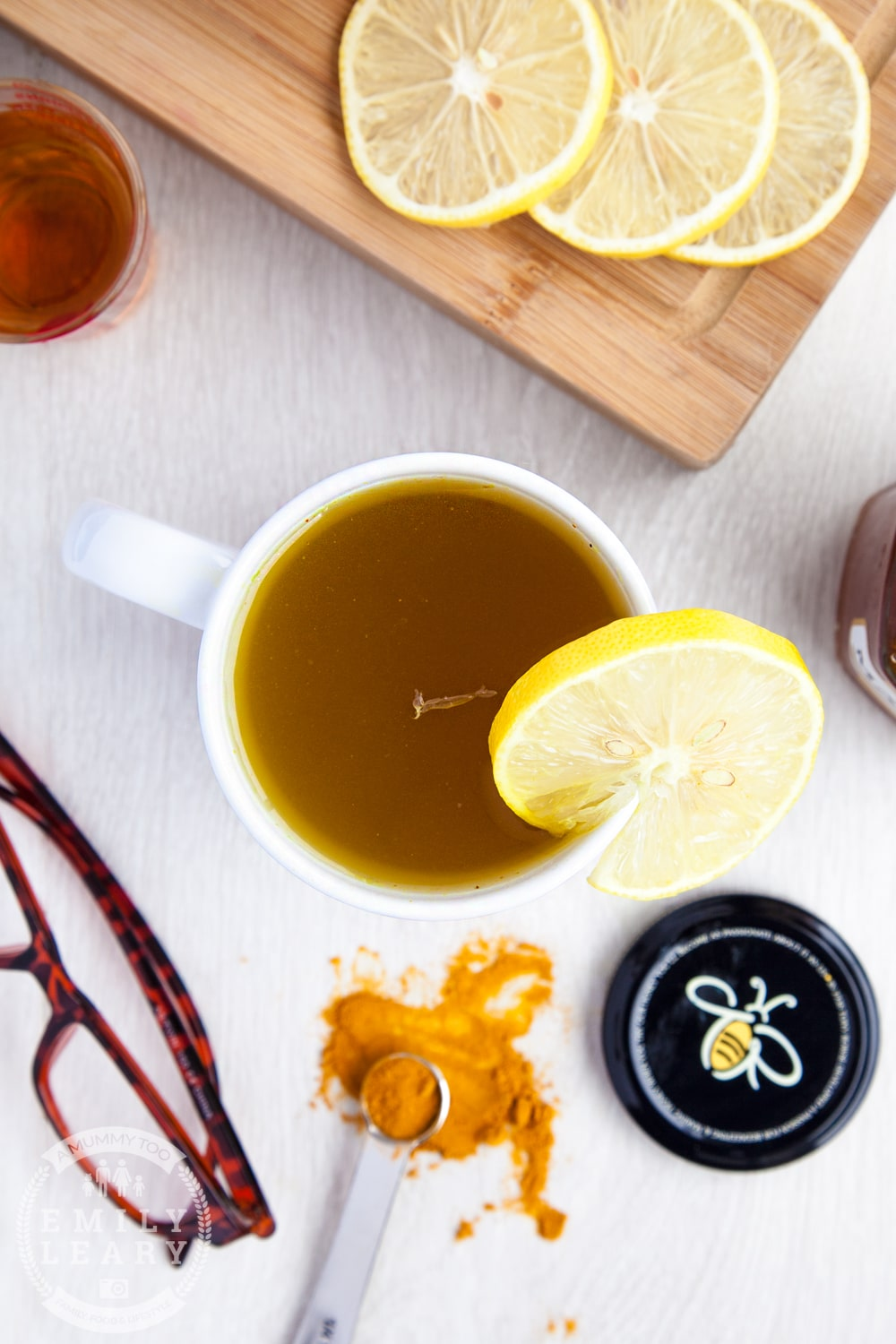 Honey & turmeric hot toddy. It's made from 1/4 tsp peppery turmeric for its reported anti-inflammatory properties and a good squeeze of fresh lemon for flavour and, some say, natural antiseptic.