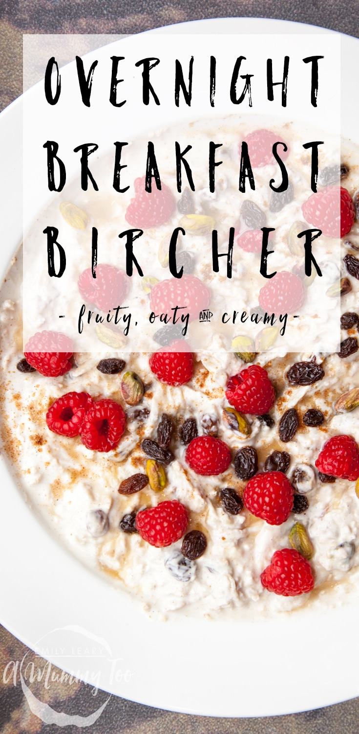 Try this fruity, oaty and creamy overnight breakfast bircher at home - made in just three steps! Find the recipe at amummytoo.co.uk #recipe #overnightoats