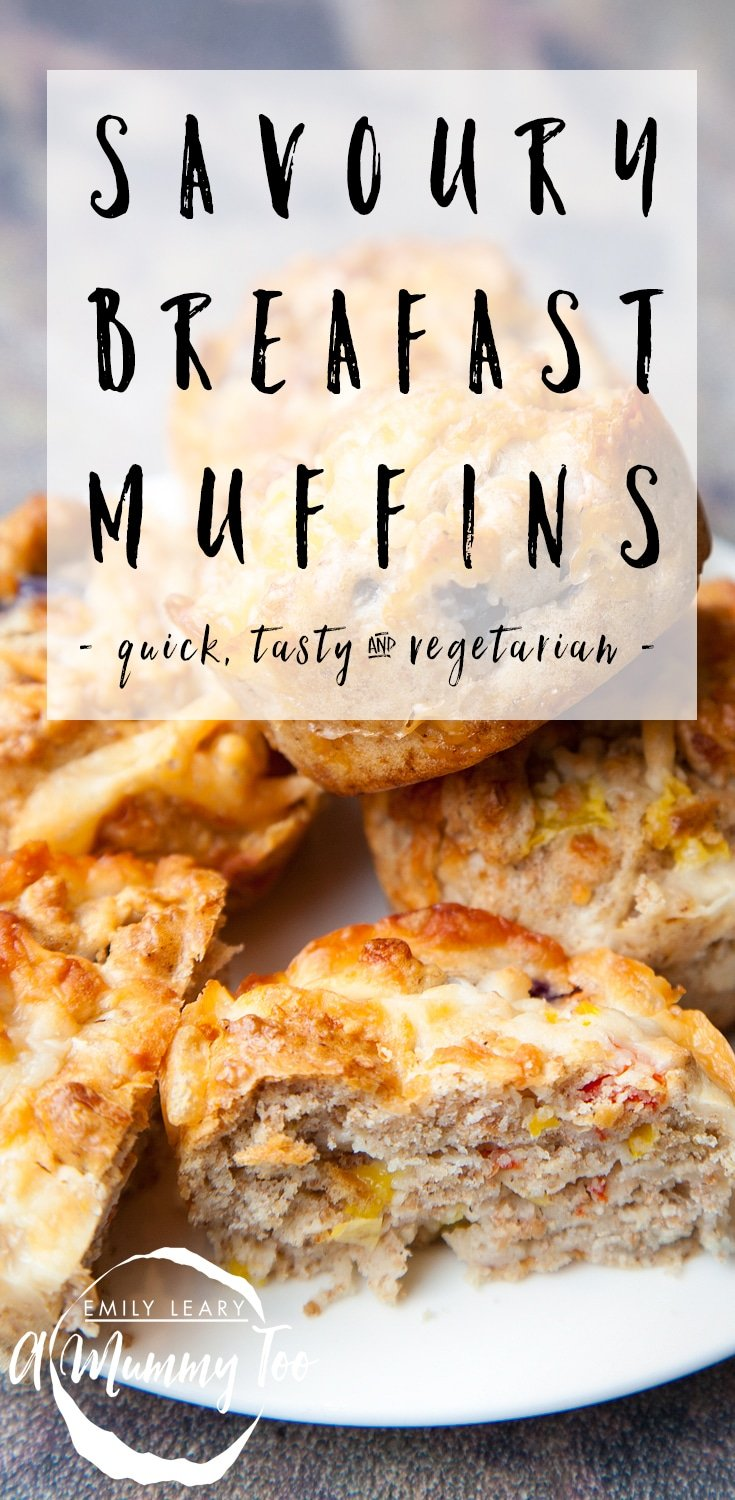 These savoury breakfast muffins are quick and easy to make, vegetarian friendly and a great snack for on the go. Find the recipe at amummytoo.co.uk #recipe #breakfast #muffins #vegetarian