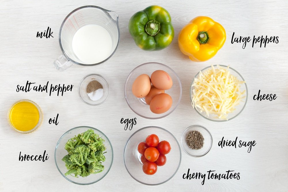 Ingredients for your pepper quiche cups