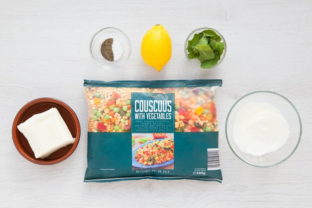 Ingredients to make this delicious grilled halloumi vegetable couscous