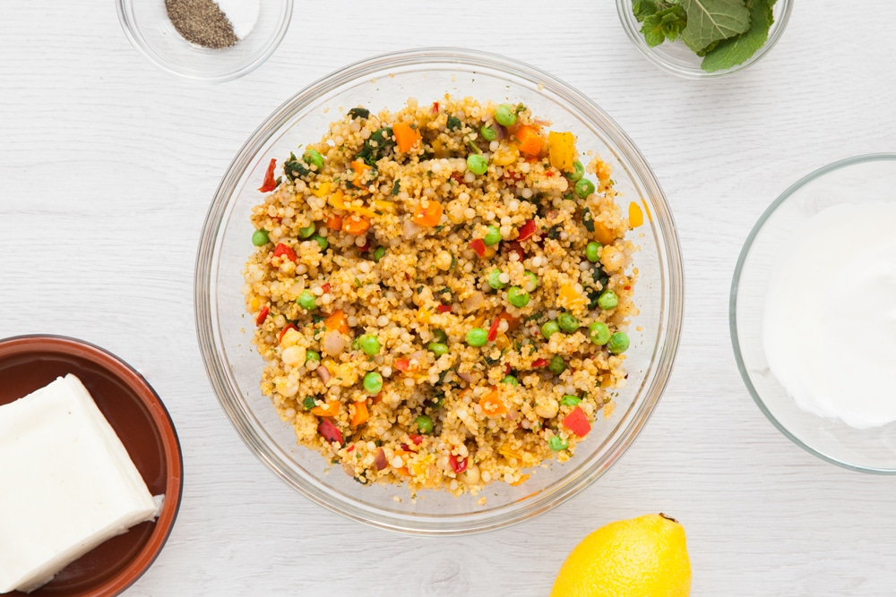 Cooked couscous with vegetables