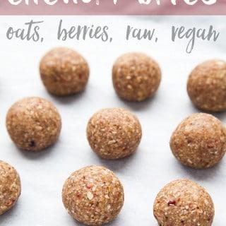 Very berry raw vegan energy bites