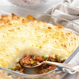 Spicy lentil vegetarian shepherds pie