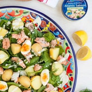 Lemon black pepper salmon and new potato salad