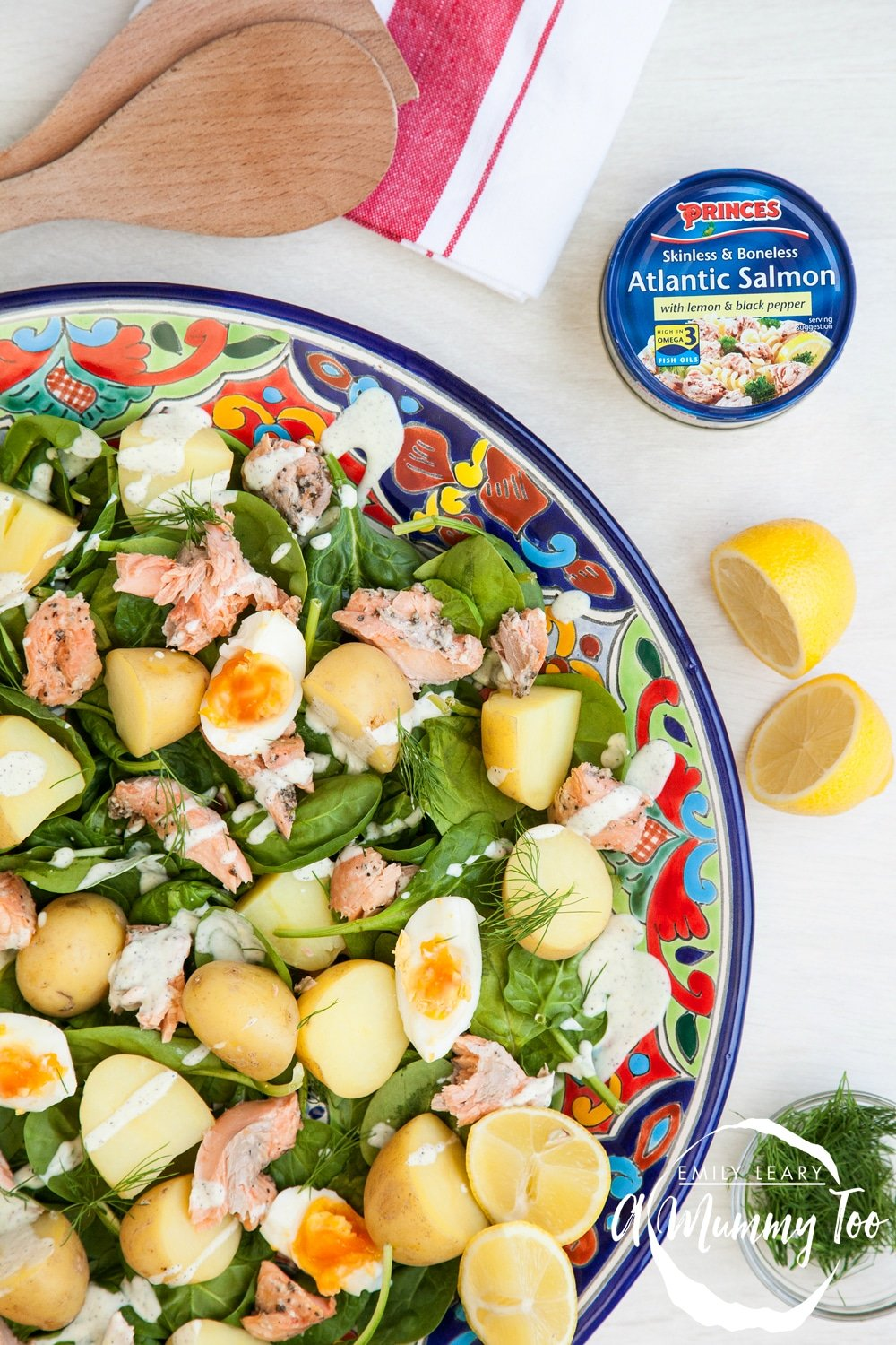 This lemony salmon and new potato salad is a delicious, healthy meal for the whole family