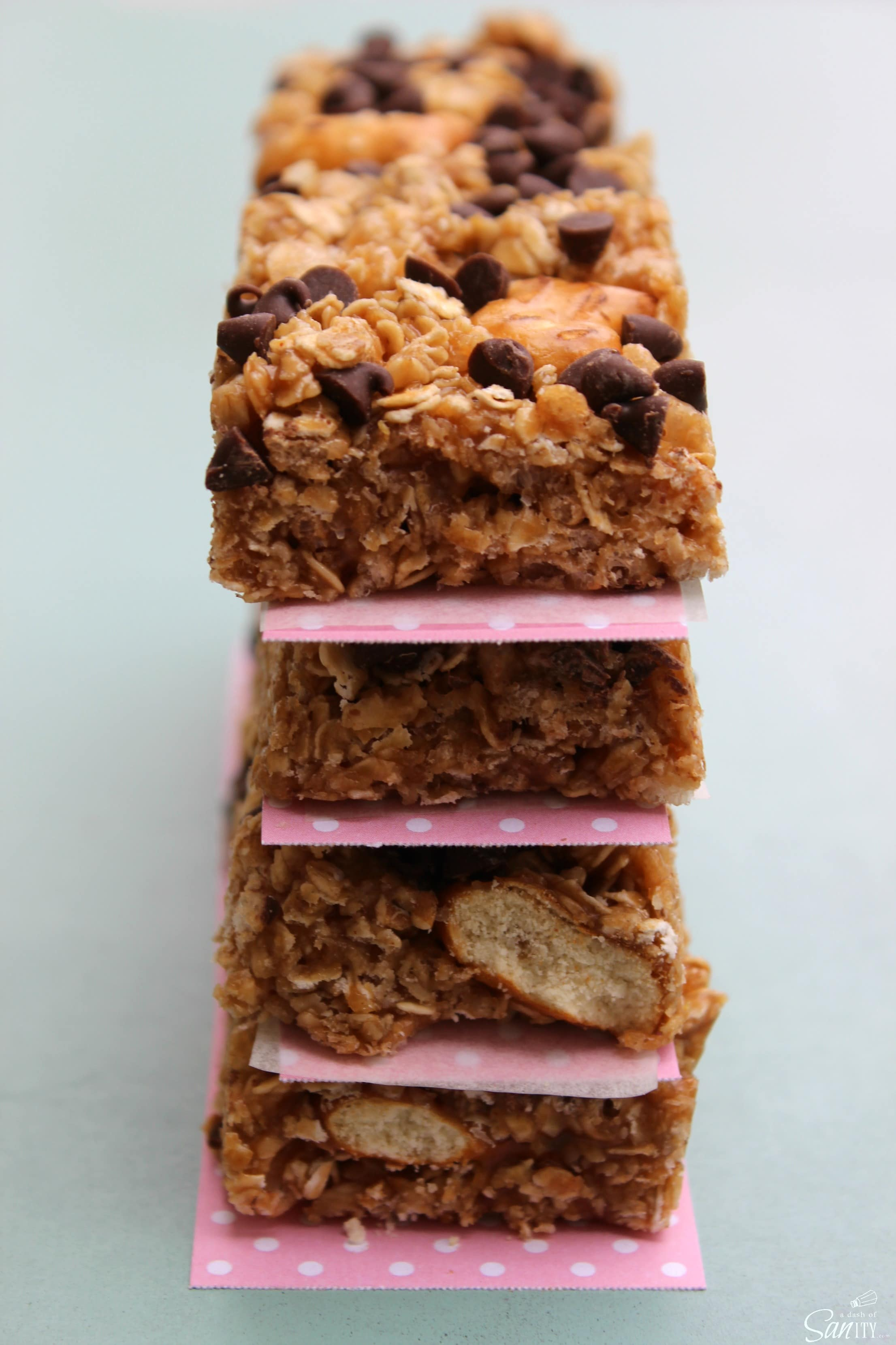 chewy pretzel peanut butter granola bars by a dash of sanity