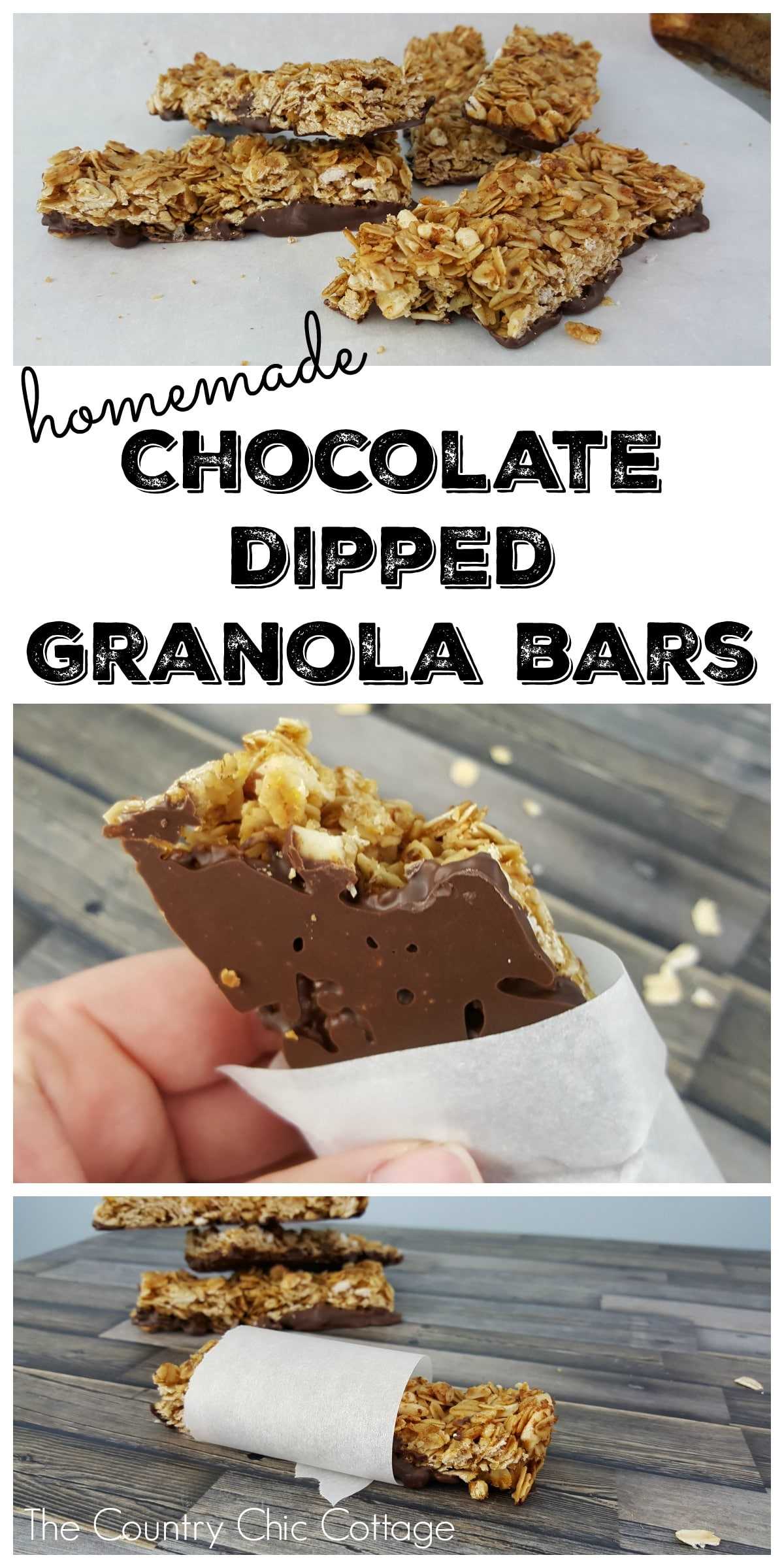 chocolate dipped granola bars by the country chic cottage