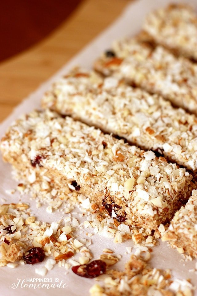 no bake berry coconut almond bars by happiness is homemade