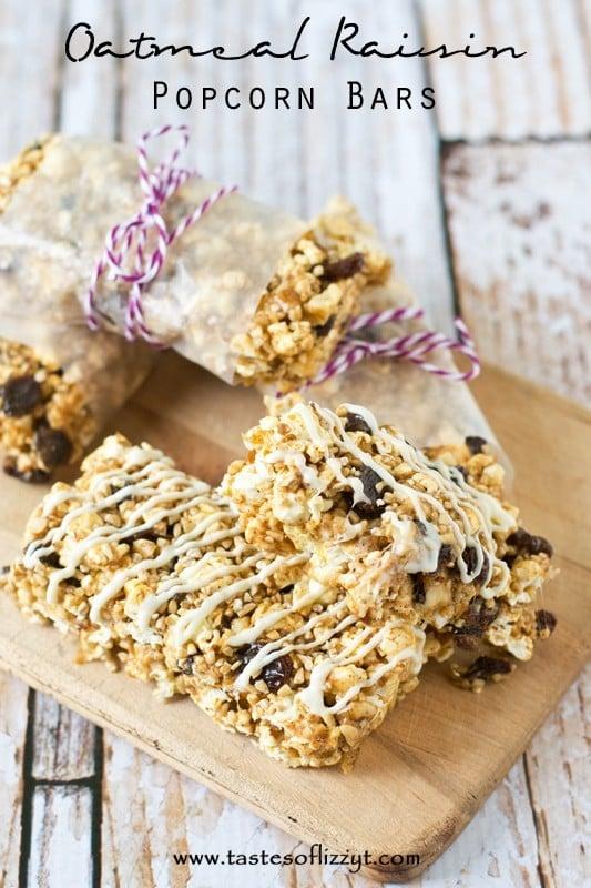 oatmeal raisin popcorn bars by tastes of lizzy t's