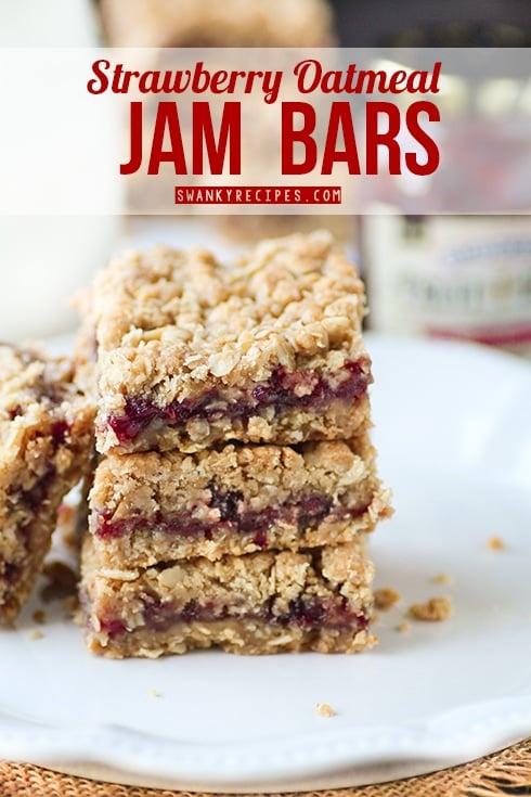 strawberry oatmeal jam bars by swanky recipes