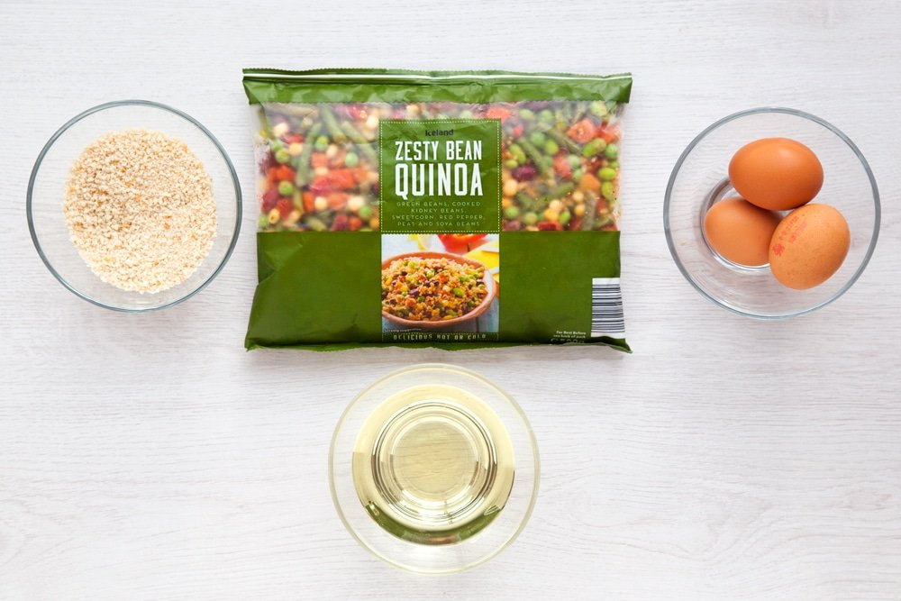 Ingredients for these quinoa patties, including this zesty bean quinoa mix from Iceland