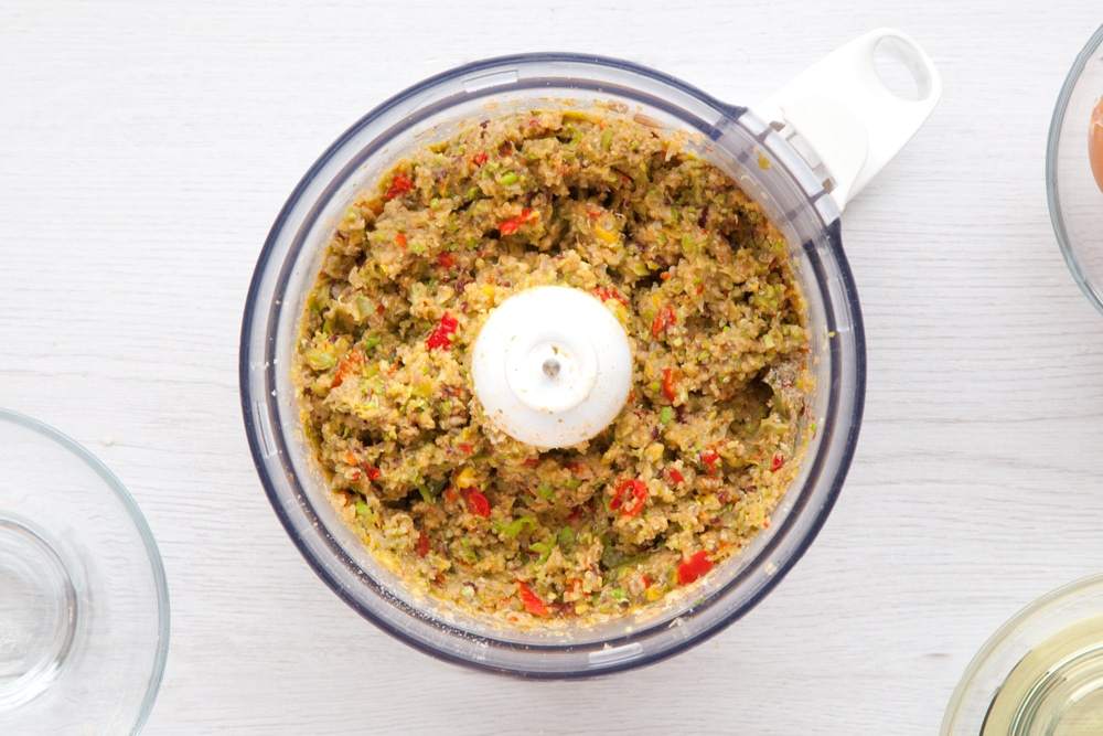 Quinoa patty mix in a food processor