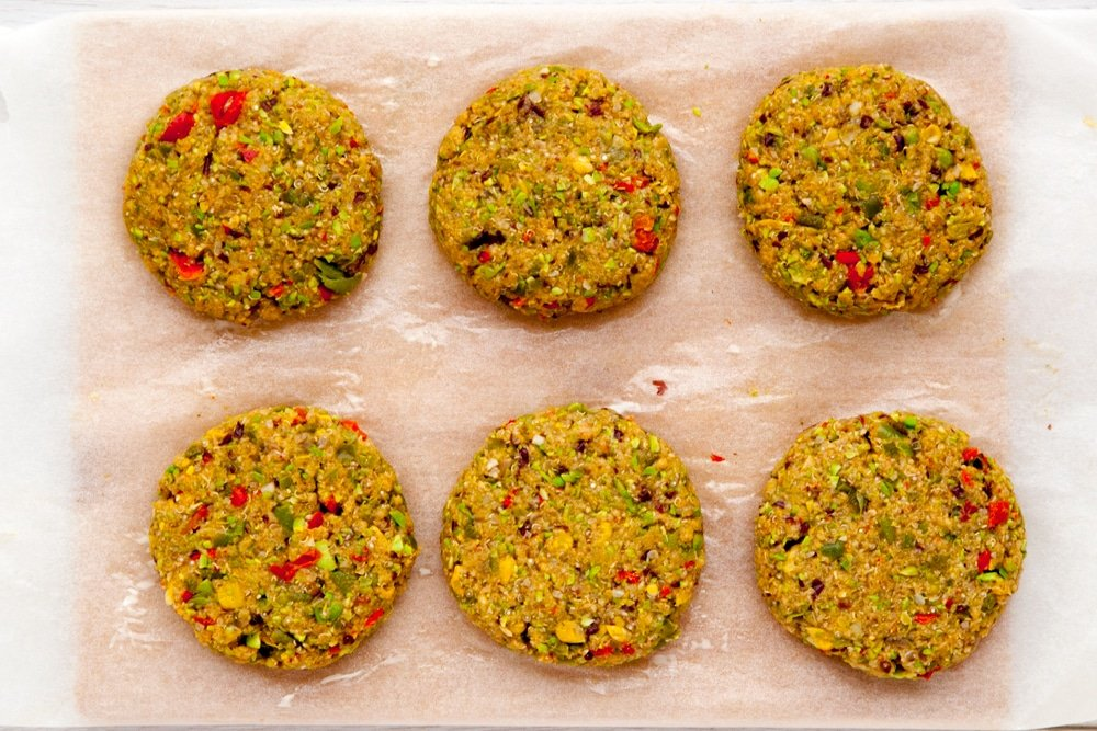 Zesty bean quinoa patties on a tray