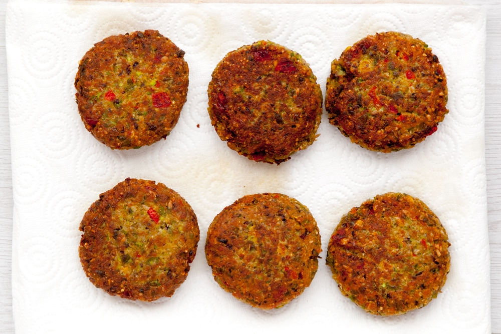 Cooked quinoa patties, ready to serve and enjoy