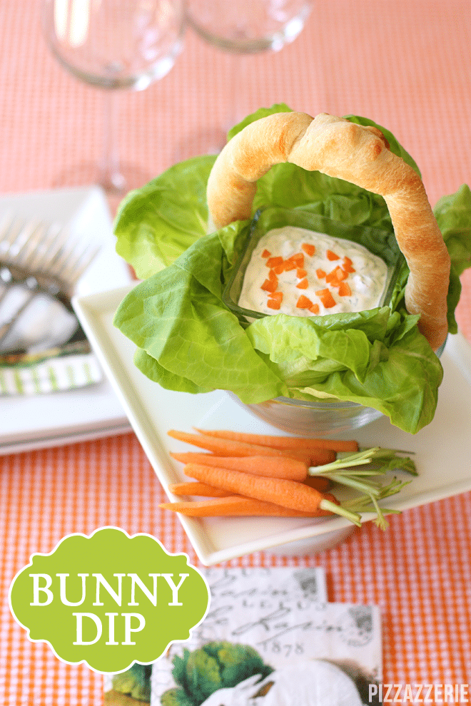 bunny carrot dip and easter bread basket by pizzazzerie