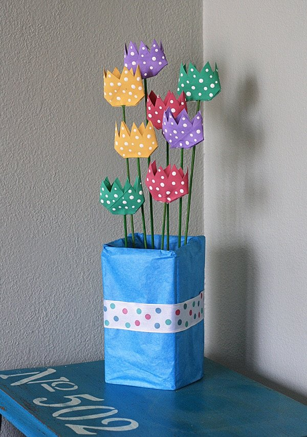 cardboard tube polka dot tulips by crafts by amands