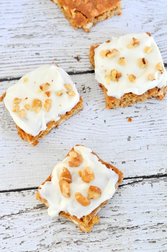carrot cake cookie bars by just us four