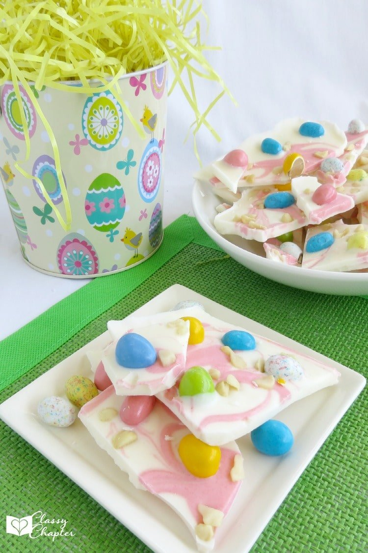 easter candy bark by the classy chapter