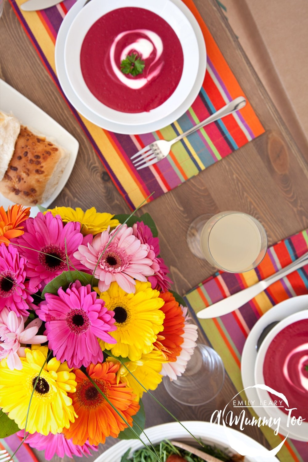 A gerbera centrepiece - a fun, colourful addition to your dinner party table