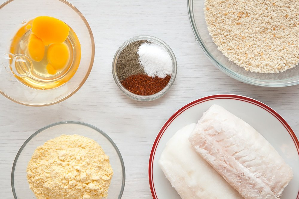 Ingredients for your homemade fish fingers
