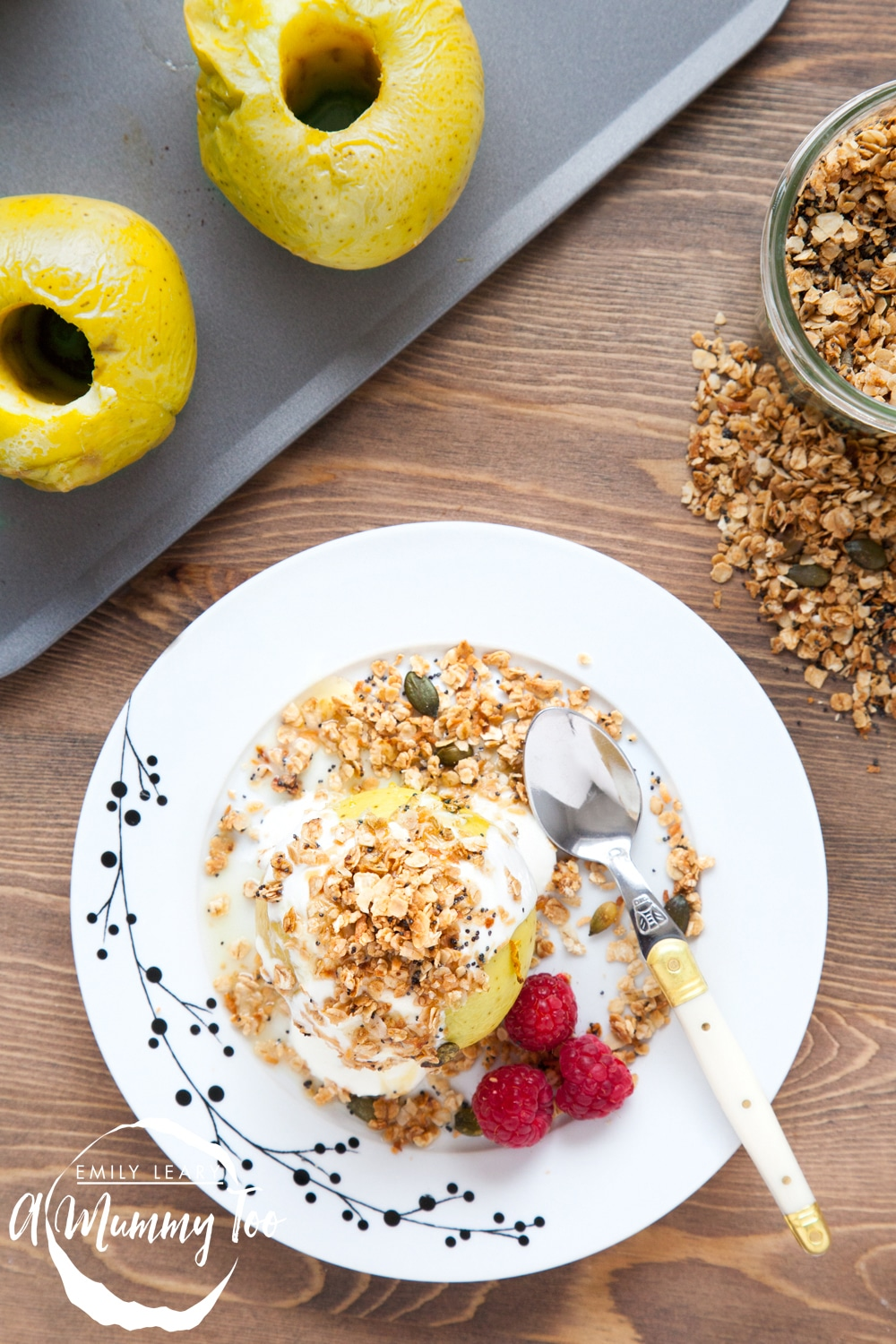 Assemble your baked Bramley apples with yoghurt and granola