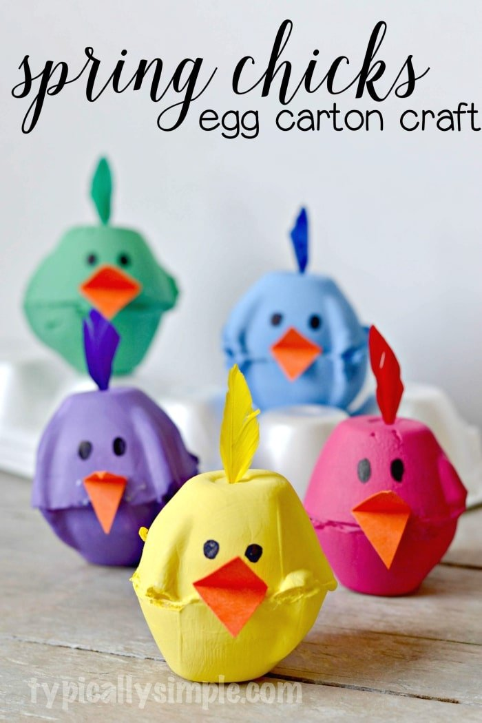 spring chicks egg carton craft by typically simple