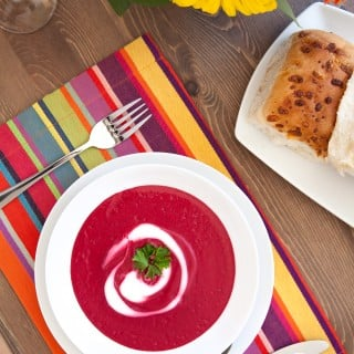 Bright pink roasted beetroot soup and a gerbera inspired dinner party