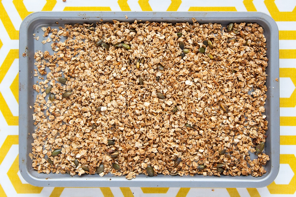 Toasted granola in a baking tray