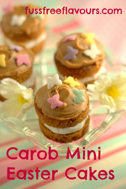 toffee caramel carob mini easter cakes by fuss free flavours