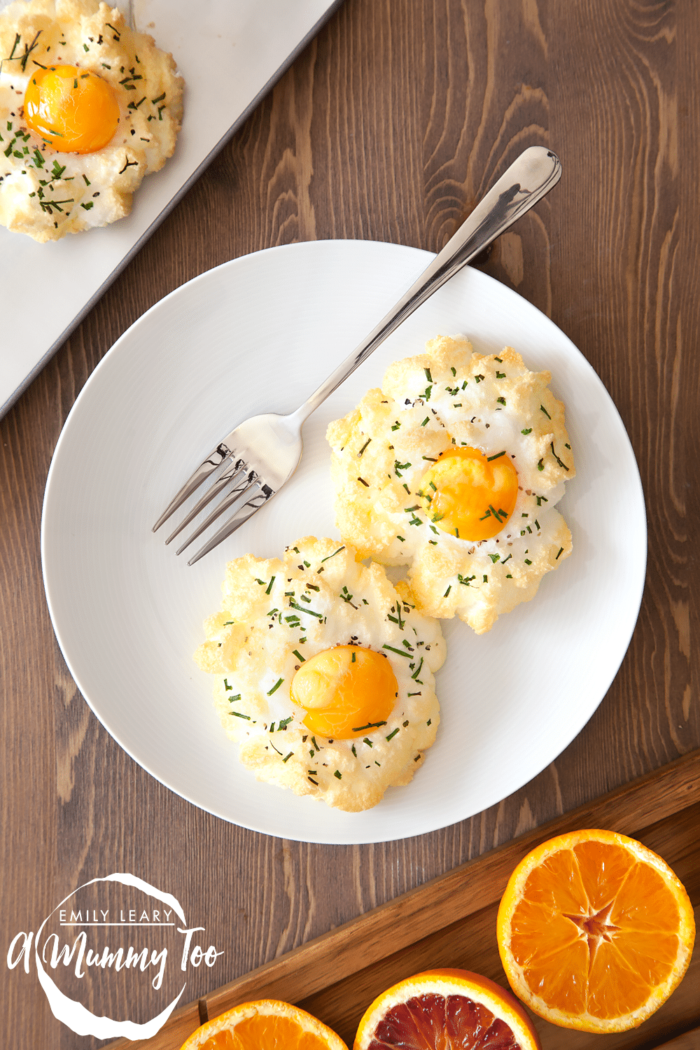 Eggs in clouds are a perfectly heavenly breakfast, made by whipping the eggs whites until fluffy, before returning the yolk to its rightful place and baking until just cooked. If you like eggs, you will love these, I promise.