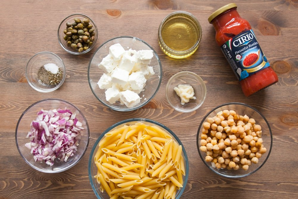 Ingredients for this pasta dish in bowls