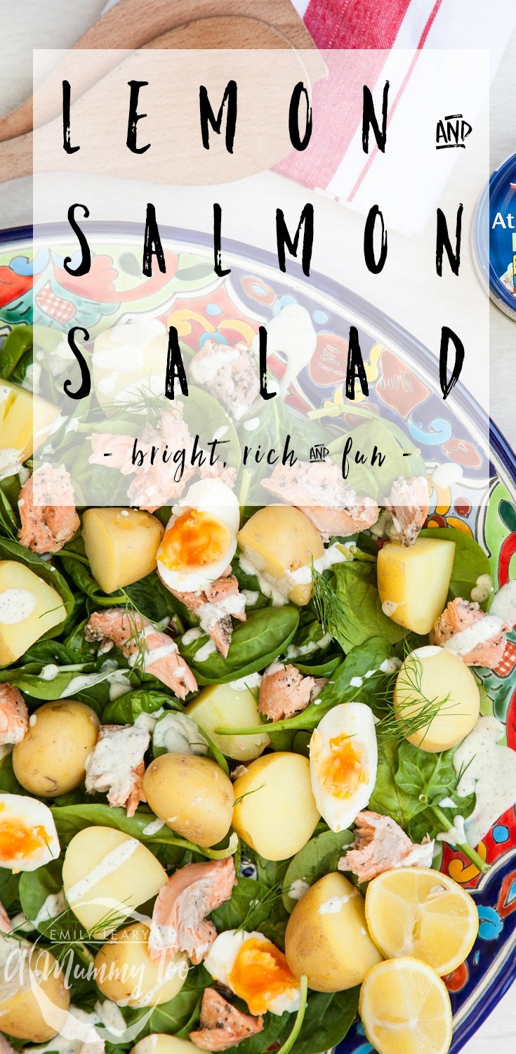 A bright, rich and fun salad - this salmon and new potato salad features a lemony dressing for added flavour! Find the recipe at A Mummy Too #recipe #salads