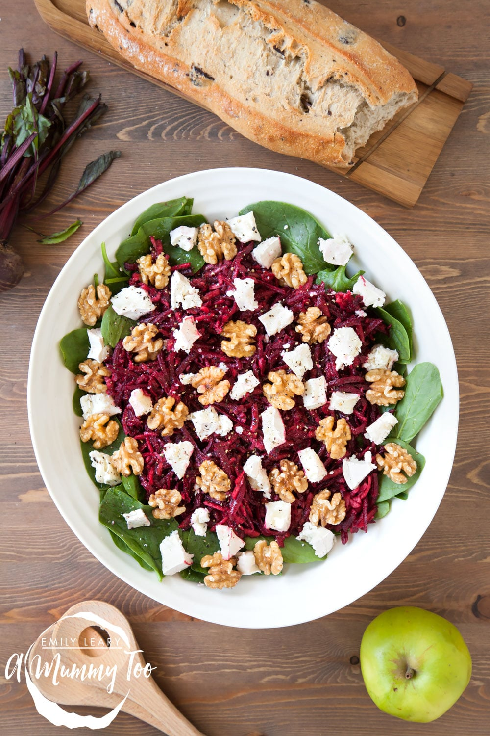 Top your apple and beetroot salad with goat's cheese and walnuts