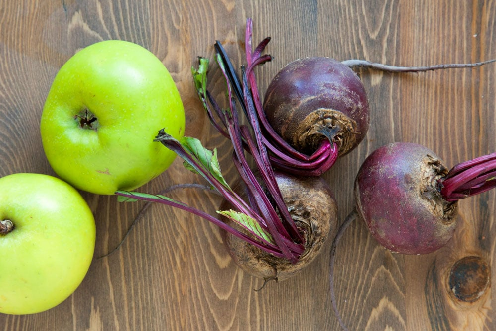 Bramley apples and beetroot