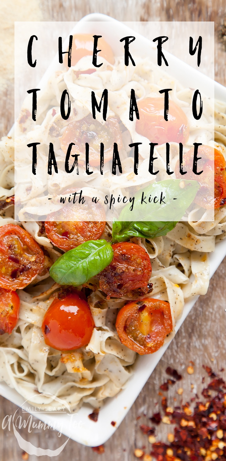 This basil tagliatelle with fiery cherry tomatoes is a twist on the classic and features a spicy kick thanks to the chilli! Find the recipe at A Mummy Too #recipe #pasta