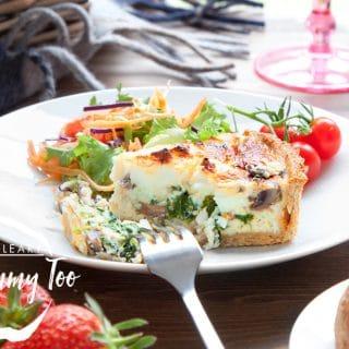 Chestnut mushroom, spinach and feta quiche