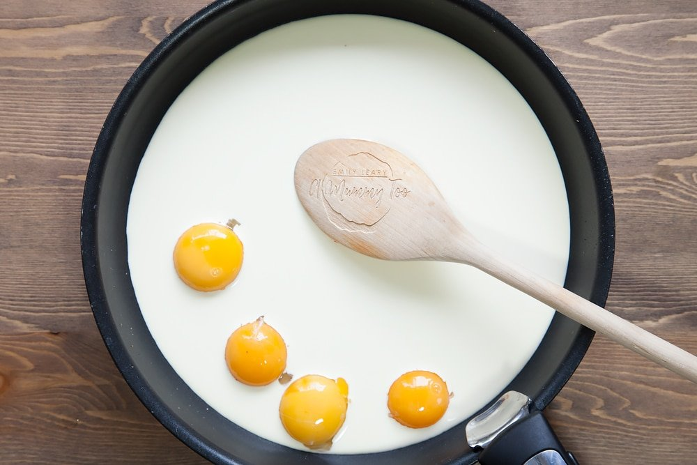 Cream and egg yolks in a pan