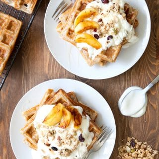 Granola waffles with coconut fried apples