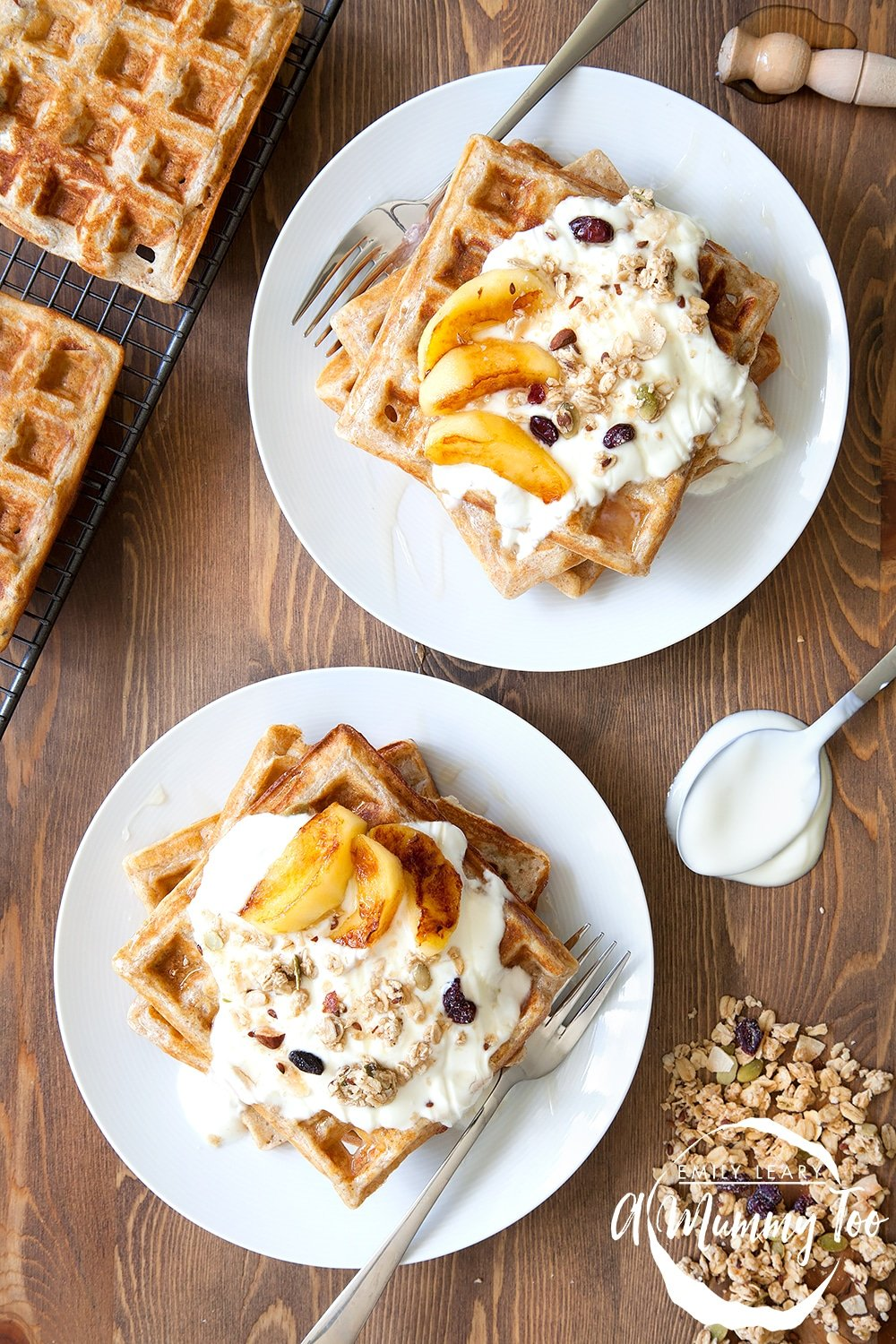 Granola waffles topped with coconut fried apples - a deliciously textured breakfast!