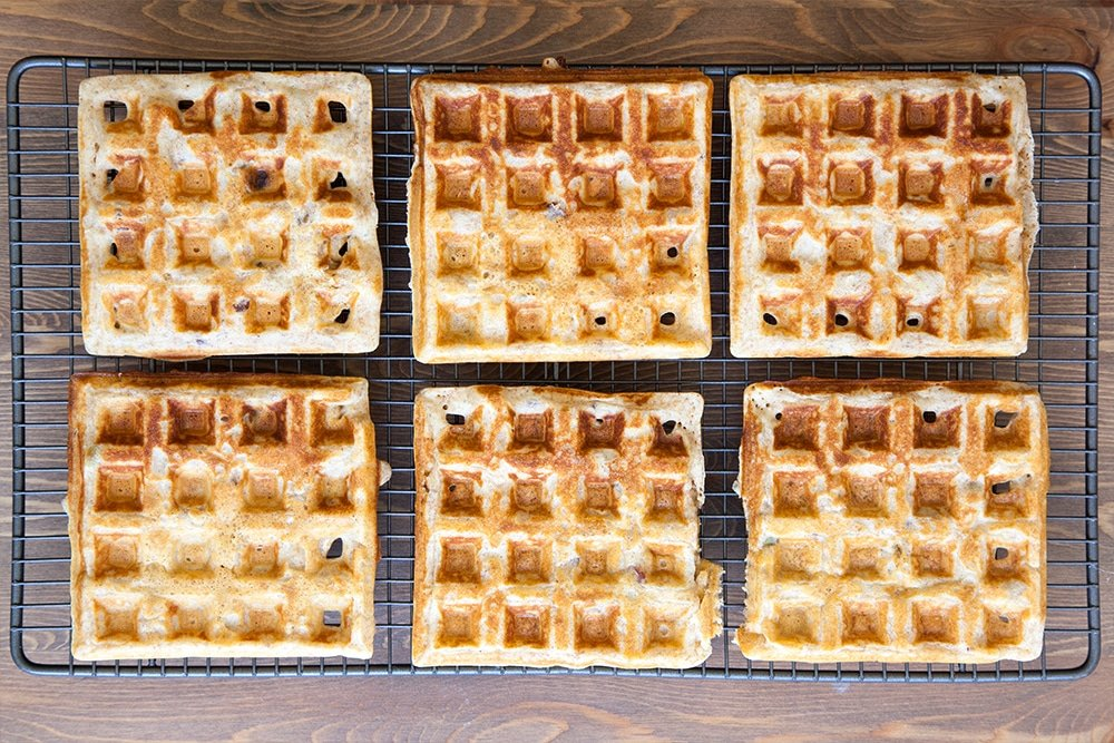Freshly baked granola waffles