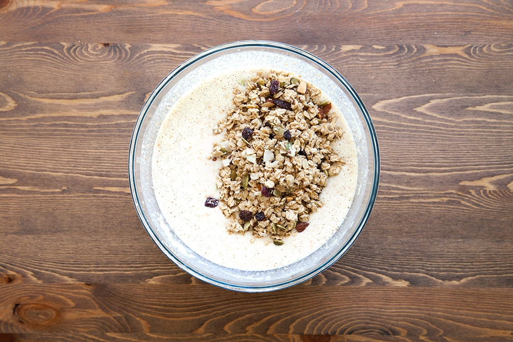 Add the fruit and nut granola to the mix