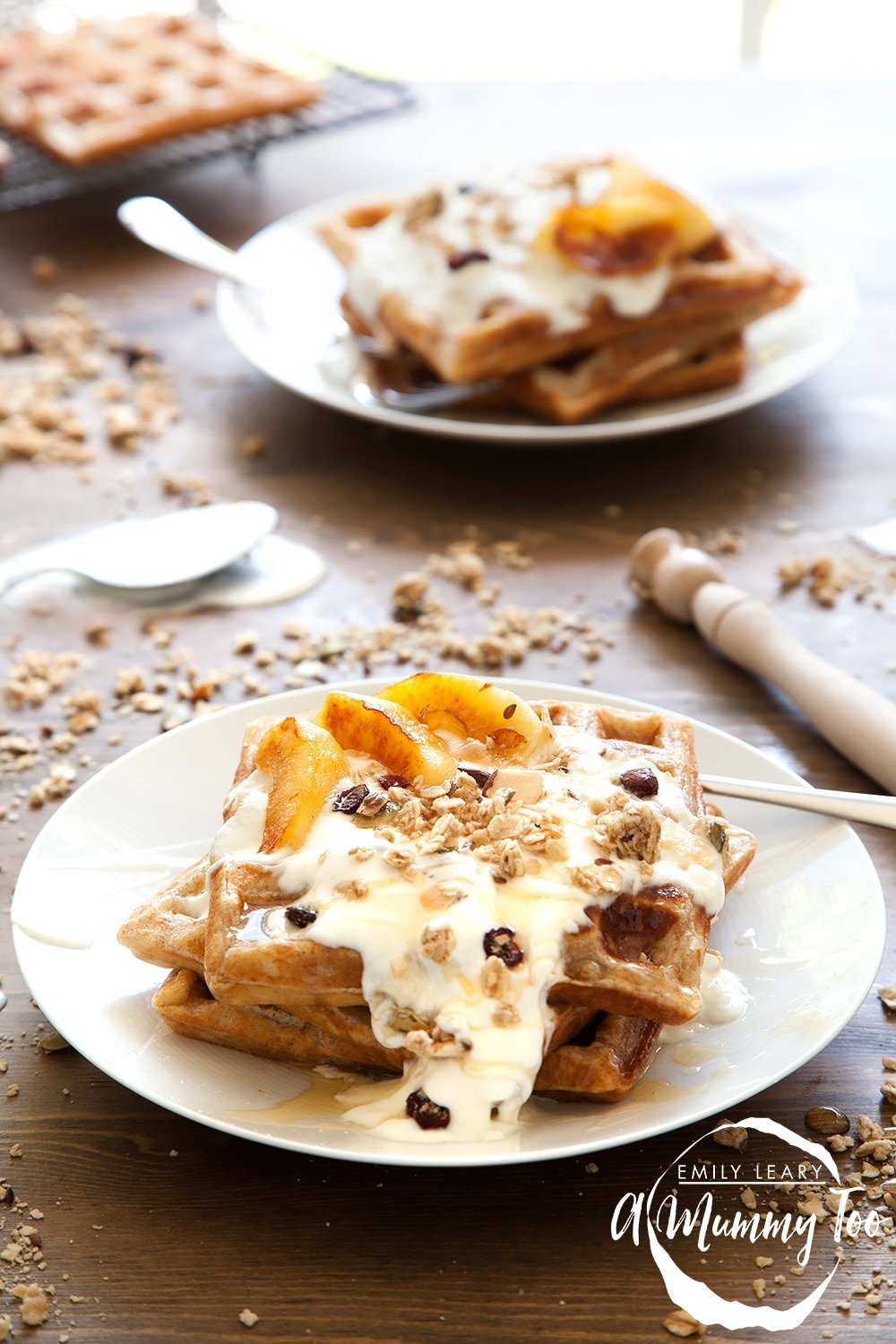 Granola waffles with coconut fried apples - a delicious, textured breakfast packed with granola and fruit