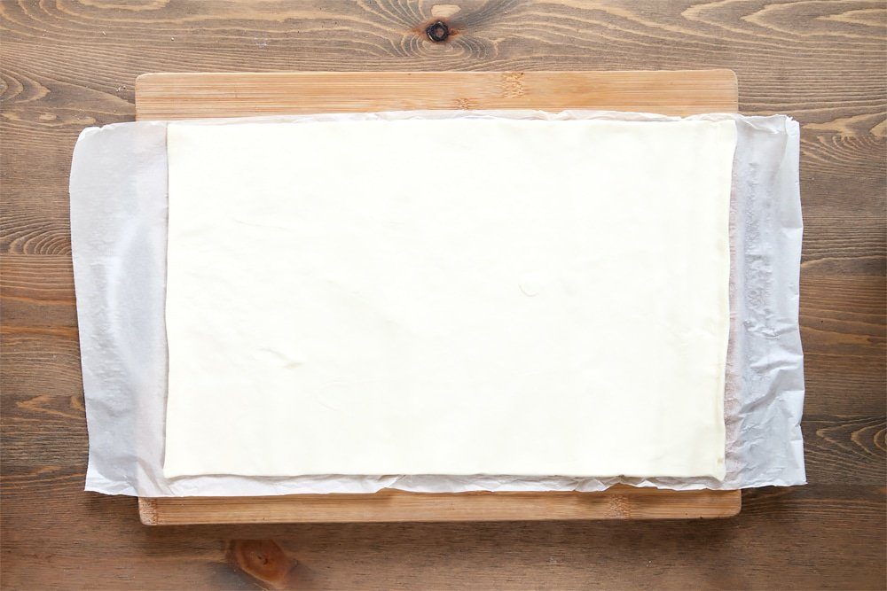Rolled out puff pastry sheet